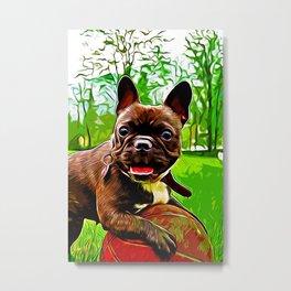 french bulldog basketball vector art Metal Print