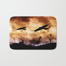 Crows and clouds Bath Mat