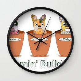 Blooming Bulldogs Wall Clock