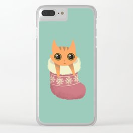 Kitty xmas stocking Clear iPhone Case