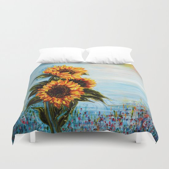 Sunflowers! Where Ocean meets Sky Duvet Cover
