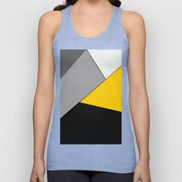 Simple Modern Gray Yellow and Black Geometric Unisex Tanktop