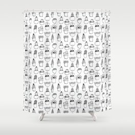 Black Inky Cacti Shower Curtain