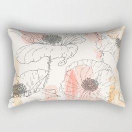 Watercolor Poppies Seamless Print Rectangular Pillow