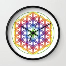 Rainbow Flower of Life - Rainbow Tribe Collection Wall Clock
