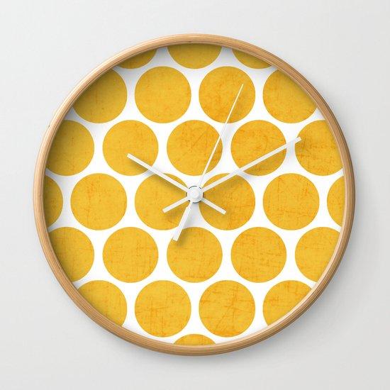 yellow polka dots Wall Clock