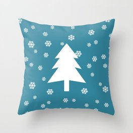 Snowy - teal - more colors Throw Pillow