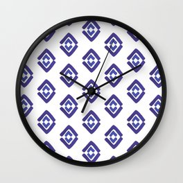 Watercolor Classic Blue Diamond Pattern Wall Clock