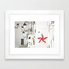 white&red mediterráneo Framed Art Print