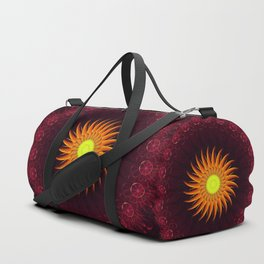 A Floral Sun Mandala of a Thousand Ruby Red Roses Duffle Bag