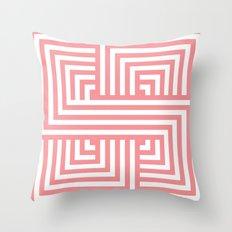 Coral Nautical Stripes Throw Pillow