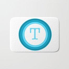 Blue letter T Bath Mat