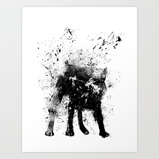 wet dog Art Print