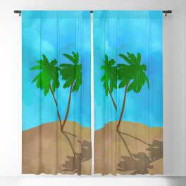 Watercolor Palm Tree Beach Scene Collage Blackout Curtain