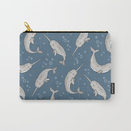 Narwhal  Grey on Navy Blue Carry-All Pouch