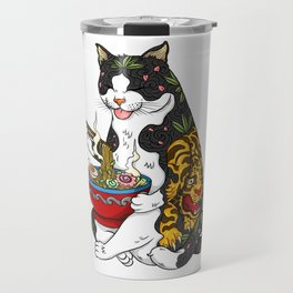Cat eating Chinese Noodles with Tiger Tattoo Travel Mug