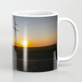 Sunrise with electric pole on the highway Coffee Mug