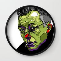 camus Wall Clocks featuring A. Camus by philip painter