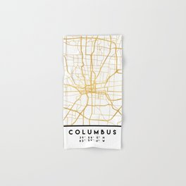 COLUMBUS OHIO CITY STREET MAP ART Hand & Bath Towel