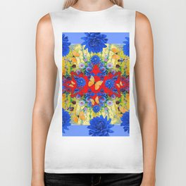 VERY BLUE  FLOWERS YELLOW BUTTERFLIES PATTERN ART Biker Tank
