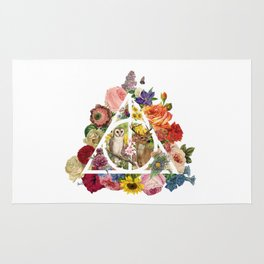Floral Deathly Hallows Owl and Stag - White Rug