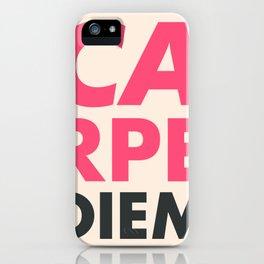 Carpe diem, seize the day, inspirational quote, motivational words, latin aphorism iPhone Case