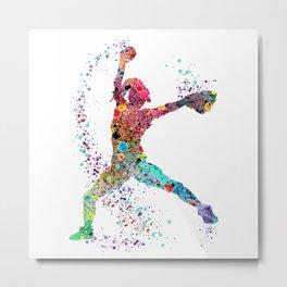 Baseball Softball Pitcher Watercolor Print Art Print Girl's Softball Painting Metal Print