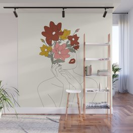 Colorful Thoughts Minimal Line Art Woman with Magnolia Wall Mural