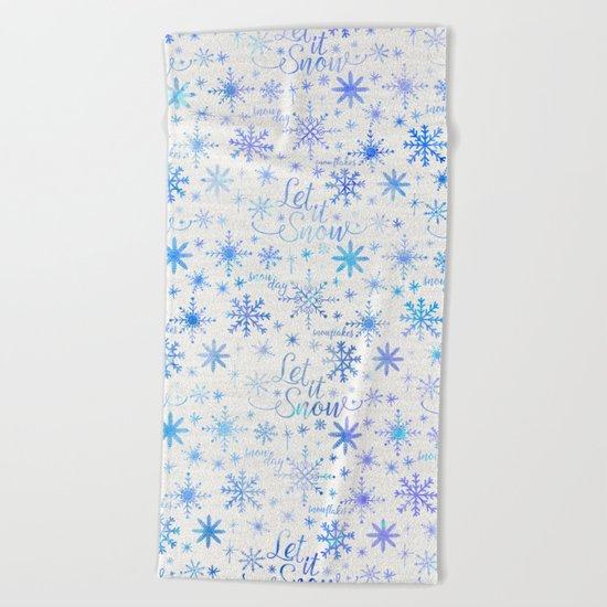 Let It Snow Winter Pattern Beach Towel
