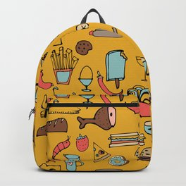 Food Frenzy yellow Backpack
