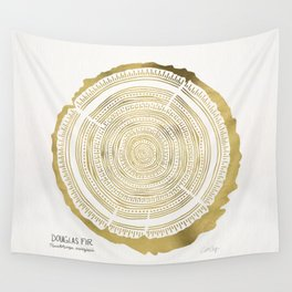 Douglas Fir – Gold Tree Rings Wall Tapestry
