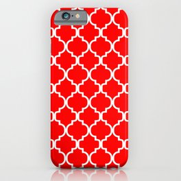 Moroccan Trellis (White & Red Pattern) iPhone Case