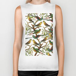 Colorful red green tropical birds parakeets pattern Biker Tank