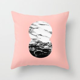 two marble circles on peach Throw Pillow