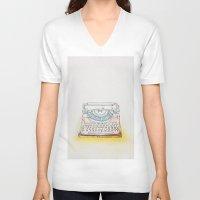 typewriter V-neck T-shirts featuring Typewriter by Moe Notsu