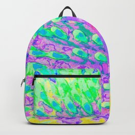 Turquoise Blue and Purple Abstract Coneflower Backpack