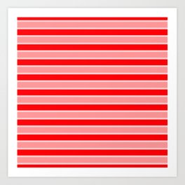 Large Horizontal Christmas Holiday Red Velvet and White Bed Stripe Art Print