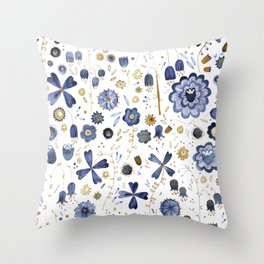 Indigo Flower Mashup Throw Pillow