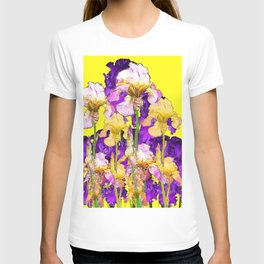 Purple Yellow & Purple Iris Flowers T-shirt