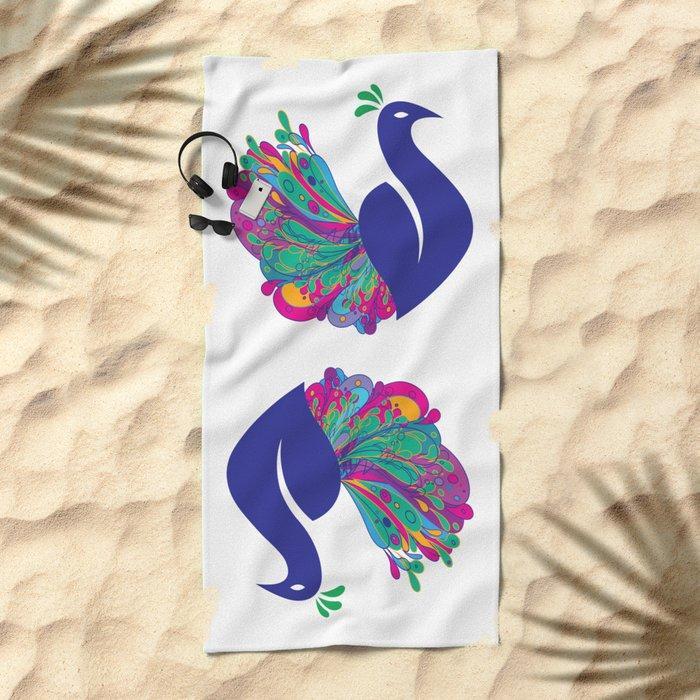 Peacock Fantasy Beach Towel