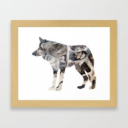 Gray Abstract Fluid Art Wolf Image Framed Art Print
