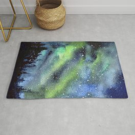 Galaxy Nebula Watercolor Northern Lights Aurora Borealis Rug