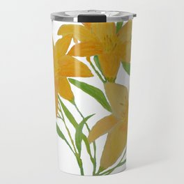 Yellow Day Lily Acrylic Painting by Rosie Foshee for Fine Art Wall Decor & Accessories Travel Mug