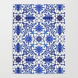 Art Nouveau Chinese Tile, Cobalt Blue & White Poster