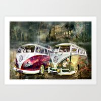 volkswagon Art Prints featuring VW Camper Van by yairi