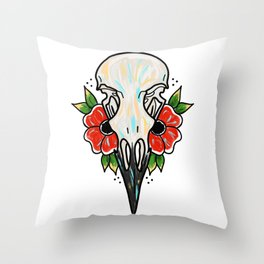 Crow Skull and Flowers Throw Pillow