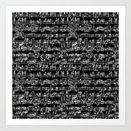 Hand Written Sheet Music // Black Art Print