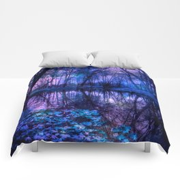 Enchanted Forest Lake Purple Blue Comforters