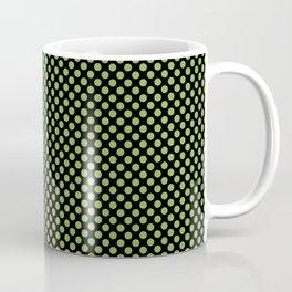 Black and Greenery Polka Dots Coffee Mug