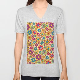 Bright Flowers Unisex V-Neck